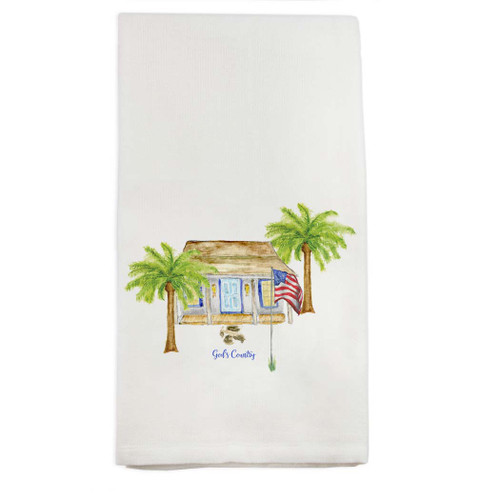 White House with Palm Trees and Quote Dishtowel