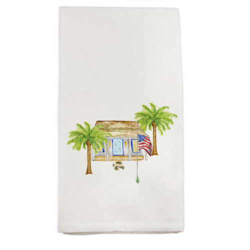 White House with Palm Trees Dishtowel