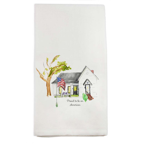 White House with Flag and Quote Dishtowel