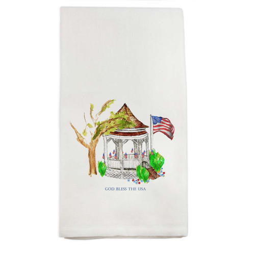 Gazebo with Flags and Quote Dishtowel