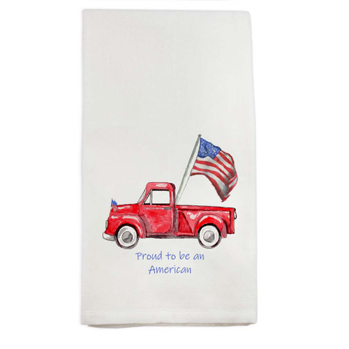 Red Truck with Flag and Quote Dishtowel