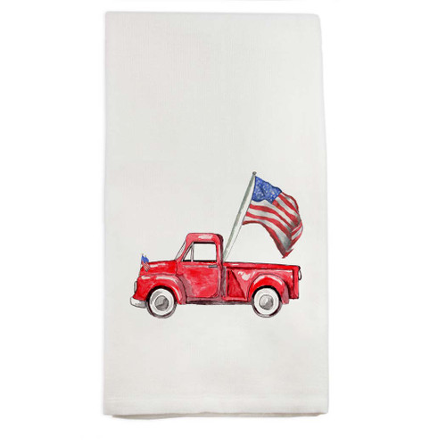 Red Truck with Flag Dishtowel
