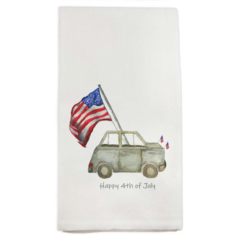 Grey Car with Flag and Quote Dishtowel