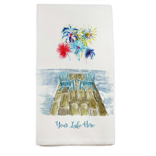 Dock with Fireworks and Location Dishtowel