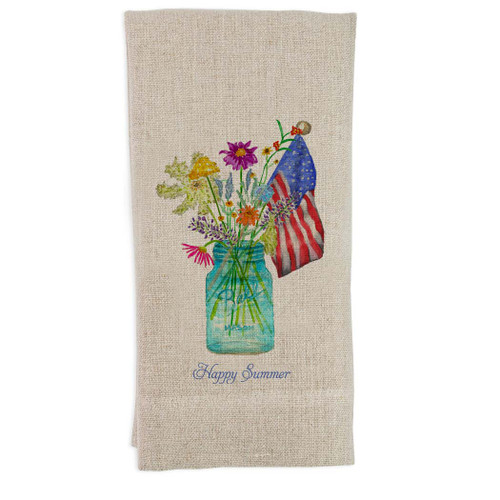 Wildflowers In Mason Jar with Flag and Quote Guesttowel