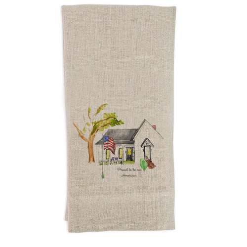 White House with Flag and Quote Guesttowel
