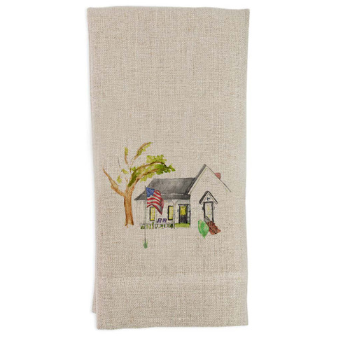 White House with Flag Guesttowel