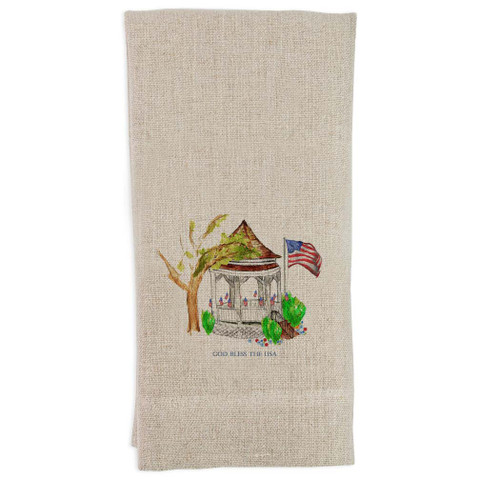 Gazebo with Flags and Quote Guesttowel
