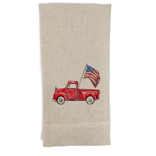 Red Truck with Flag Guesttowel
