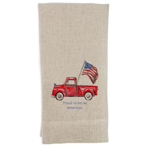 Red Truck with Flag with Quote Guesttowel