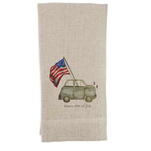 Grey Car with Flag with Quote Guesttowel
