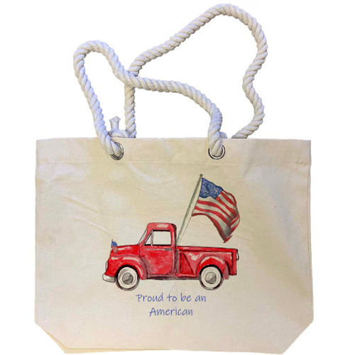 Red Truck with Flag and Quote Tote Bag