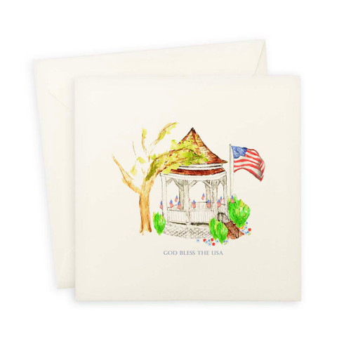 Gazebo with Flag and Quote Note Card