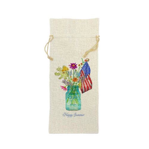 Wildflower in Mason Jar with Flag and Quote Wine Bag