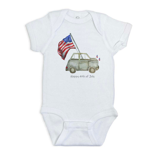 Grey Car with Flag and Quote Onesie