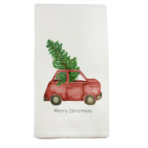 Red Car with Tree and Merry Christmas Dishtowel