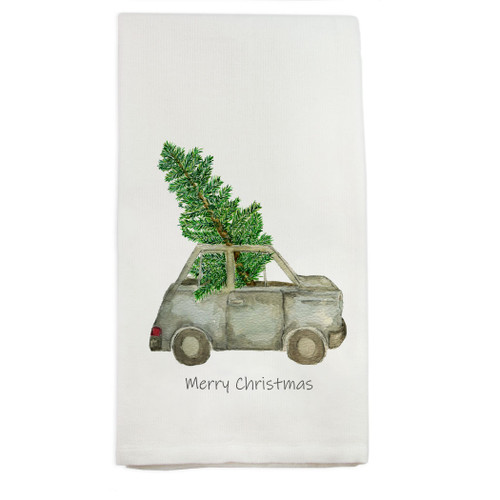 Car with Tree and Merry Christmas Dishtowel