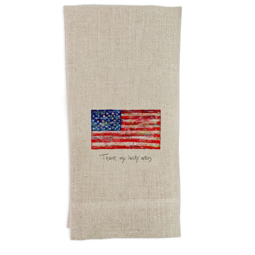 Flag with Quote Guest Towel