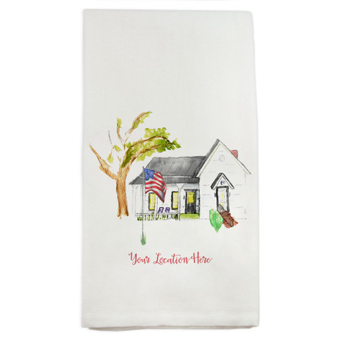 White House with Flag and Location Dishtowel