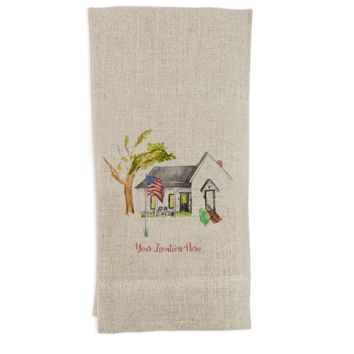 White House with Flag and Location Guesttowel