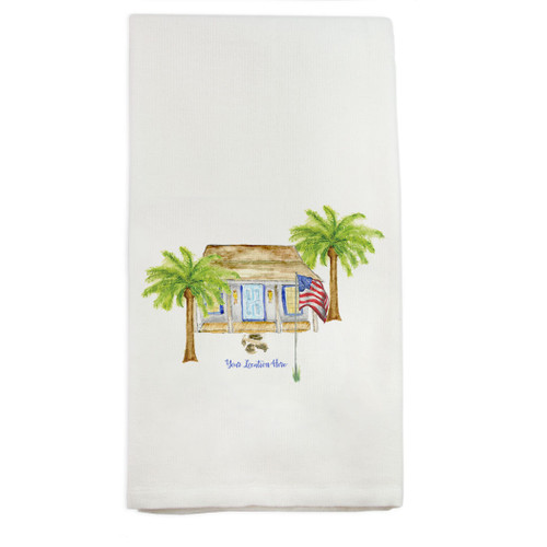 White House with Palm Trees and Location Dishtowel