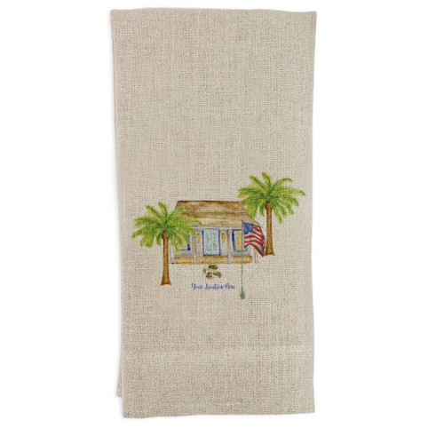 White House with Palm Trees and Location Guesttowel