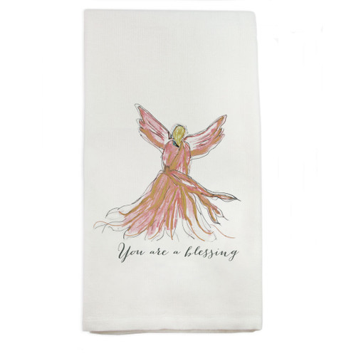 Angel Pink You Are Blessed Dishtowel