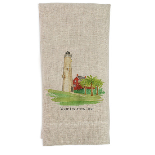 Lighthouse with Location Guest Towel