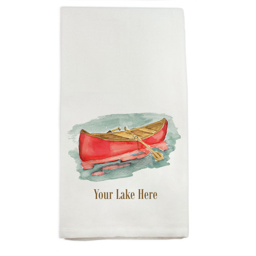 Red Canoe with Location Dish Towel