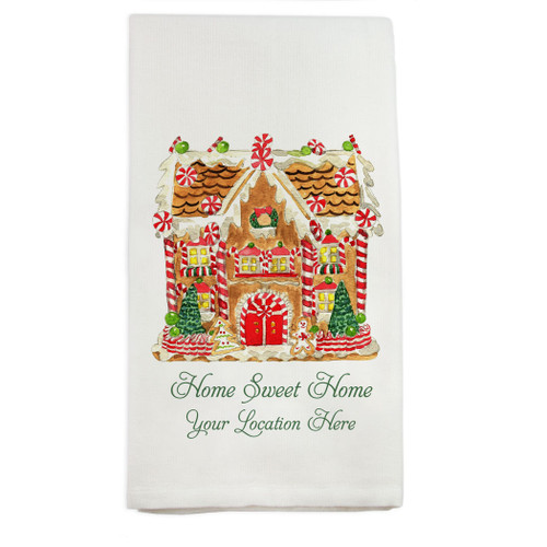 Gingerbread House with Location Dish Towel