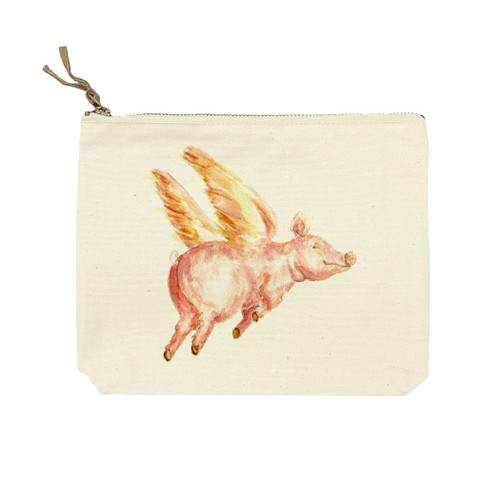 Flying Pig Now Words Cosmetic Bag