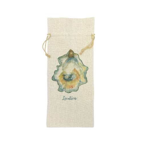 Watercolor Oyster Location Wine Bag