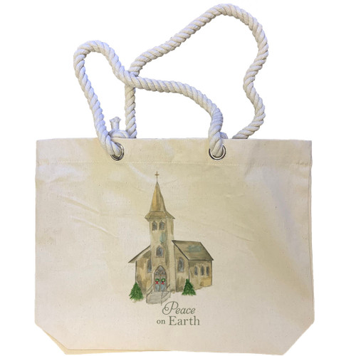 Church with Peace on Earth Tote Bag