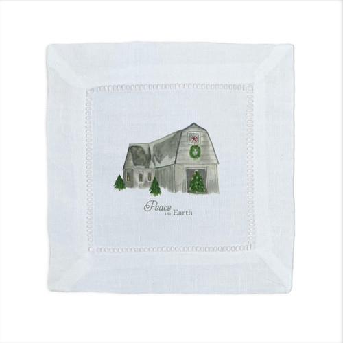 Barn with Peace on Earth Cocktail Napkin