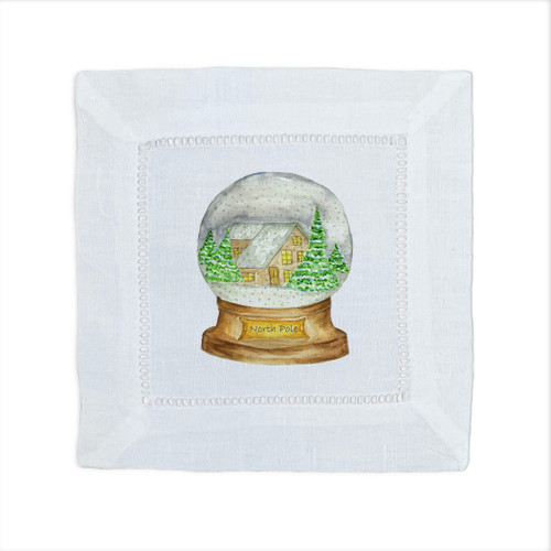 Snowglobe with Location Cocktail Napkin