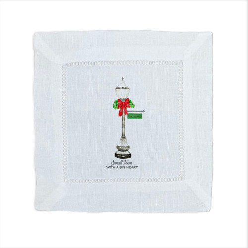 Christmas Street Light with Location Cocktail Napkin
