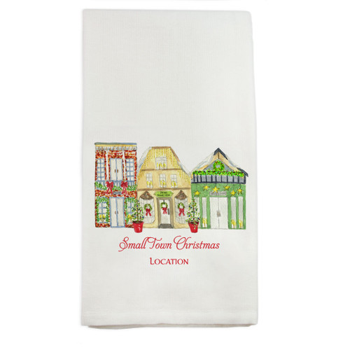 Small Town Christmas with Location Dishtowel