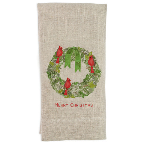 Green Wreath with Cardinal and Merry Christmas Guesttowel