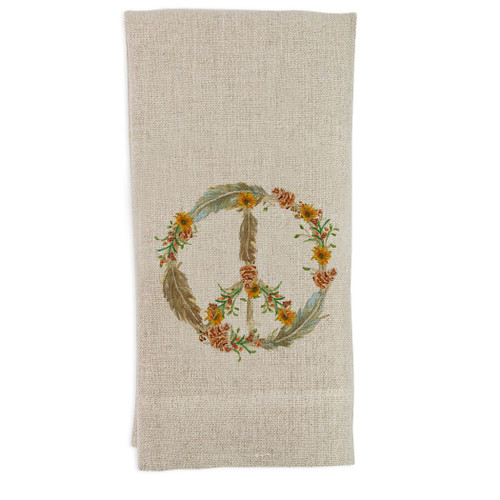 Peace Fall with Flowers Guest Towel