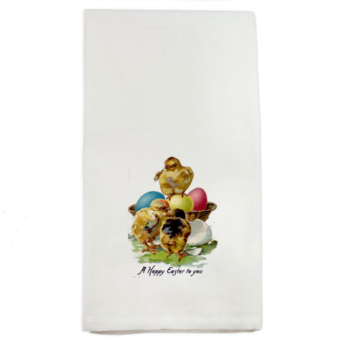 Happy Easter Chicks Dishtowel