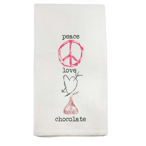 Peace Love Chocolate Dishtowel