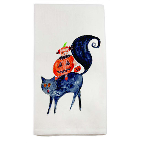 Halloween Cat and Girl Dishtowel