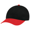 Scarlet Red/Black - 5D398M Dual Colour Brushed Cotton Drill Cap | Hats&Caps.ca