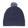 Navy/Charcoal/White - 9E064M Tri-Coloured Pom Pom Toque | Hats&Caps.ca