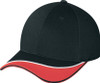 Black/Red - 6J469M Two Tone Chino Twill Cap | Hats&Caps.ca