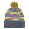 Charcoal/Gold- 9G087M Acrylic / Polyester Micro Fleece Cuff Toque (Pom Pom 8cm) | Hats&Caps.ca