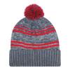Charcoal/Red - 9G087M Acrylic / Polyester Micro Fleece Cuff Toque (Pom Pom 8cm) | Hats&Caps.ca