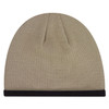 Sand/ Black - 1J034M Acrylic Polyester Micro Fleece Toque with Accent Stripe | Hats&Caps.ca
