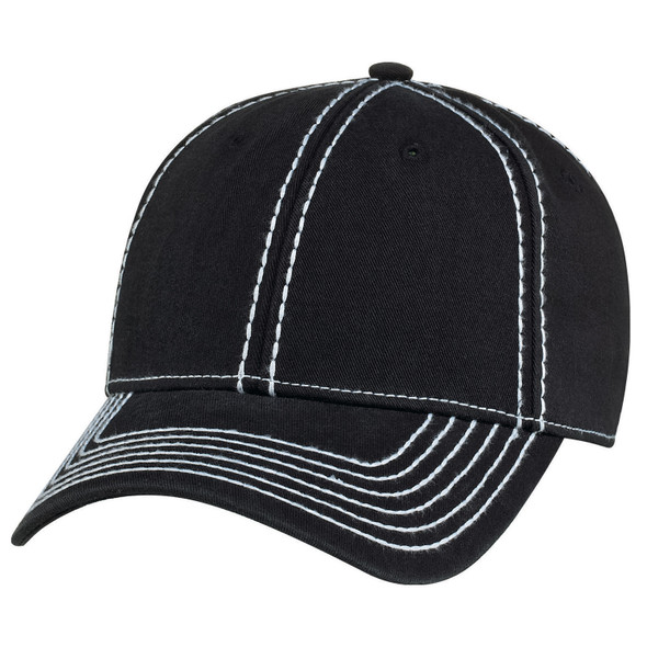 Washed Black/White - AC0020 Garment Washed Deluxe Chino Twill Cap | Hats&Caps.ca