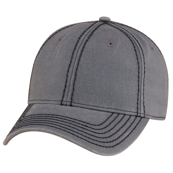 Washed Charcoal/Black - AC0020 Garment Washed Deluxe Chino Twill Cap | Hats&Caps.ca